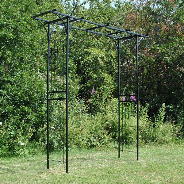 Metal Fleur de Lys Garden Arbour Style Arch with Ground Spikes