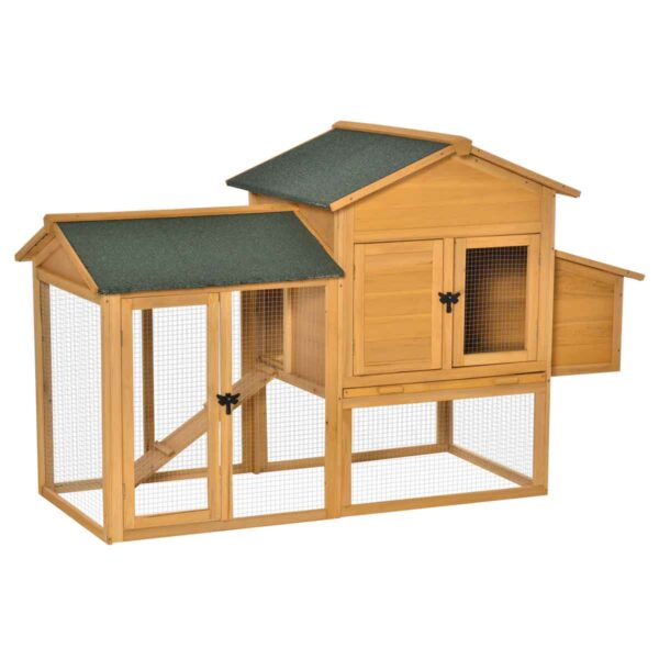 PawHut 168cm Chicken Coop Hen House w/ Run Nesting & Box Slide Out Tray - Yellow