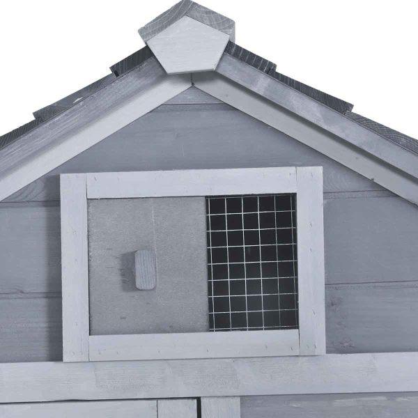 PawHut Chicken Coop For small Animals w/ Outdoor Run - Grey