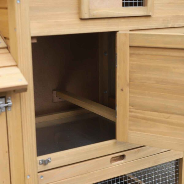 PawHut Chicken Coop For small Animals w/ Outdoor Run - Natural Colour
