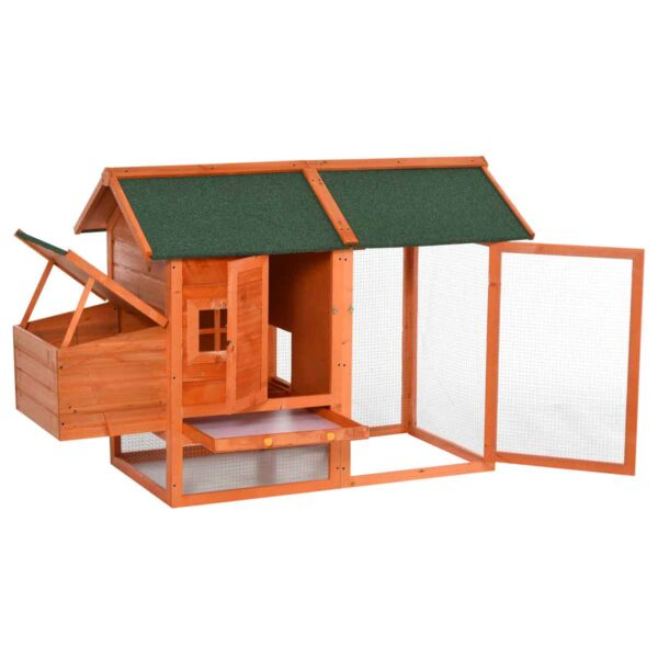 PawHut Chicken Coop w/ Outdoor Run - Nesting Box - Dropping Tray & Asphalt Roof - Orange