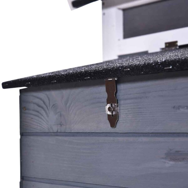 PawHut Deluxe Wooden Chicken Coop w/ Nesting Box - Grey