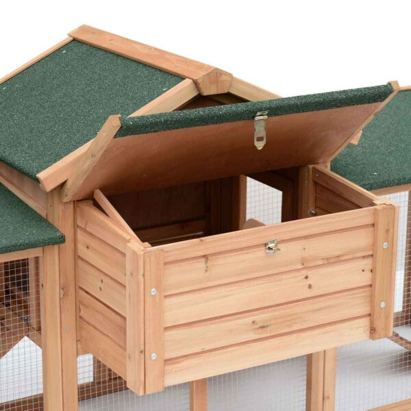 Pawhut Deluxe Wood Chicken Poultry Coop & Hens House w/ Nesting Boxes - Green
