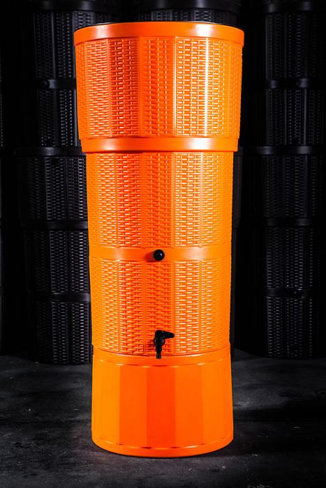 150L Rattan Wicker Effect Polybutt Water Butt - Orange