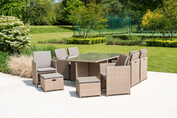 Alexander Rose 6 Seat Grand Rattan Cube Dining Set with 4 Stools