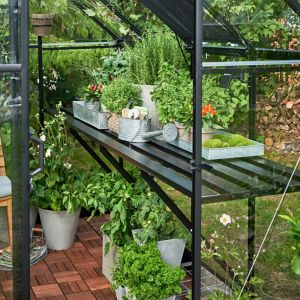 Halls Qube 10Ft Greenhouse Staging Black