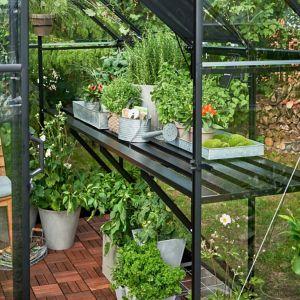 Halls Qube 6Ft Greenhouse Staging Black