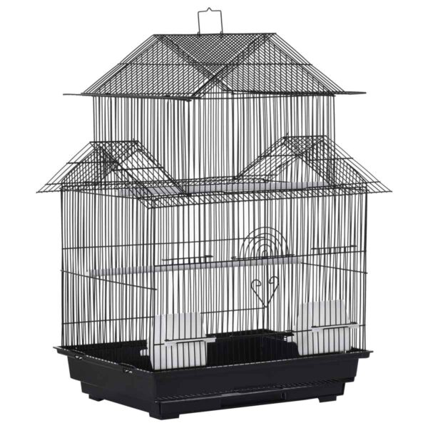 PawHut Small Metal Bird Cage w/ Perch, Food Container and Handle - Black